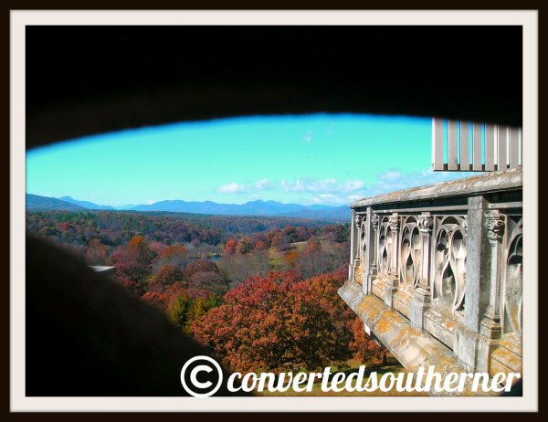 Looking at the Blue Ridge Mountains from the side piazzas of the Biltmore House