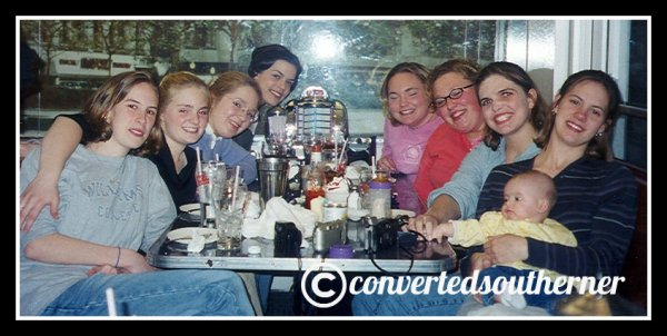 The Bestie and TT's bday dinner. March 2000, Senior year of high school. Left- Cam, Megs, Me, Val. Right- Kel and baby Taylor, Erin, the Bestie and TT