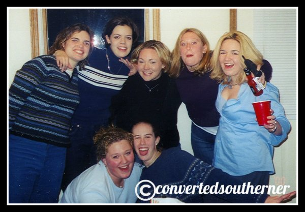 December 31, 2000. New Years Eve freshmen year of college. L to R- Erin, Val, TT, Lisa, me (very blonde). The Bestie and Cam