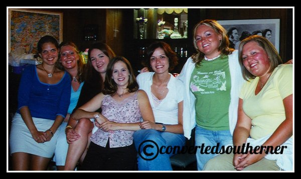 Summer 2004. Kelly's bridal shower.  L to R- Erin, Lisa, Me, Kel, Val, TT and the. Bestie