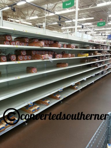 It started Monday, with a run on milk and bread at the grocery store. Have to have the milk, bread and toilet paper during a snow storm