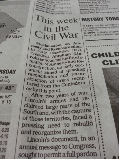 This Week in the Civil War series in the local newspaper.