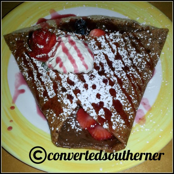 Amazing Nutella and fruit crepe at Creperie Bouchon in Asheville, NC