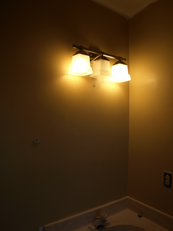 new master bath paint and light fixture.