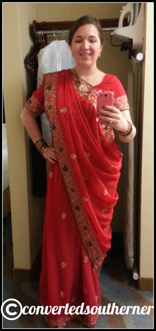 All dressed up in the bridesmaid sari and ready to go.