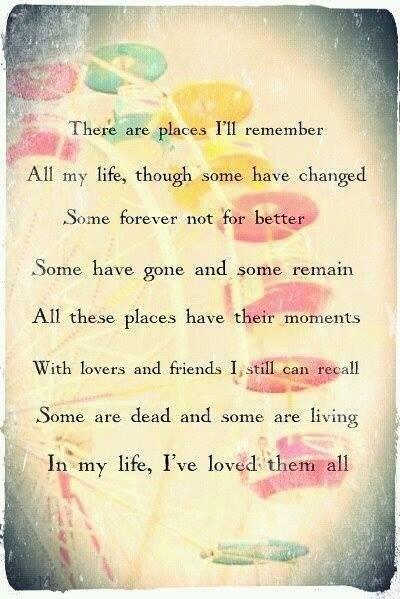 In My Life lyrics from the Beatles. Image via Pinterest
