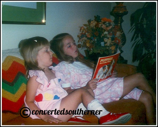 Jenna on the left, me on the right reading to her. July 1989