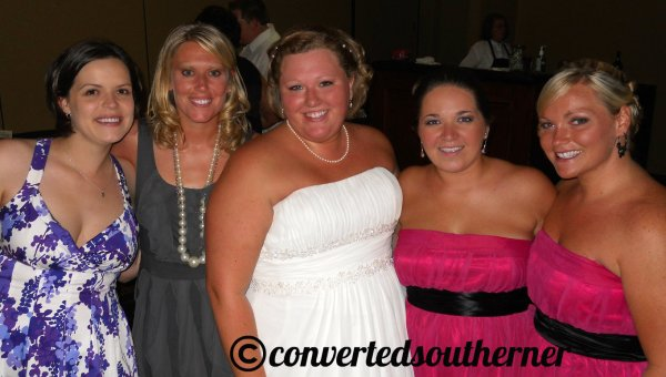 The girls posing at the Bestie's wedding. June 2010. Left to Right.. Val, Lisa, Bestie, Me, TT