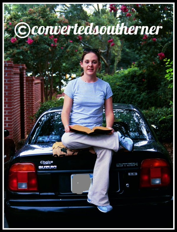 My college roomie Ashley sitting on my car posing for a photojournalism class assignment. Summer 2003. She was a much more new and shiny car then!