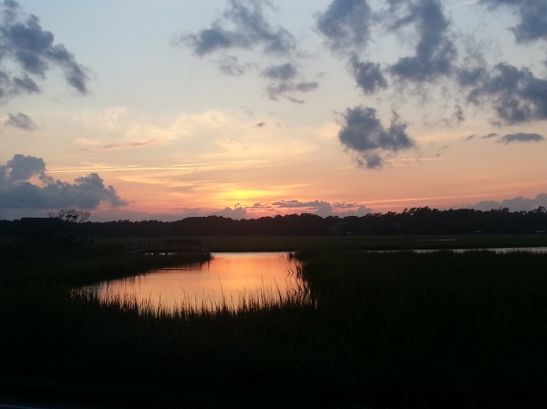 The Creek on the other side of the Beach House at sunset.
