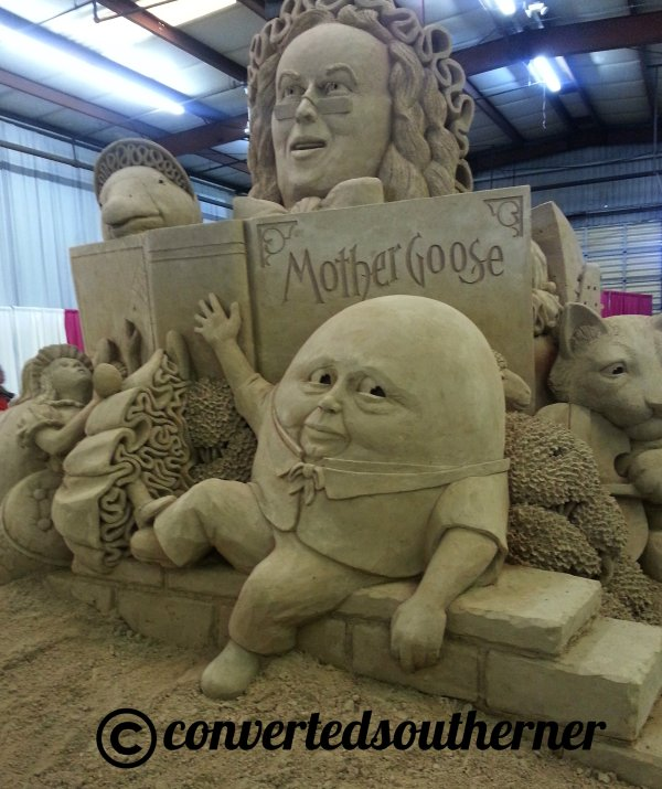 Every year they do a giant sand castle. The theme this year was Mother Goose and Nursery Rhymes. While the detail was amazing, I think Mother Goose is looking a little like Ben Franklin... anyone?
