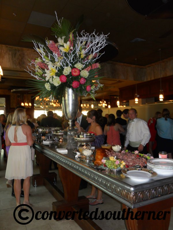 One of the buffet lines inside with heavy appetizers. It was a really pretty venue inside (if oddly shaped) and the display pieces were nice.