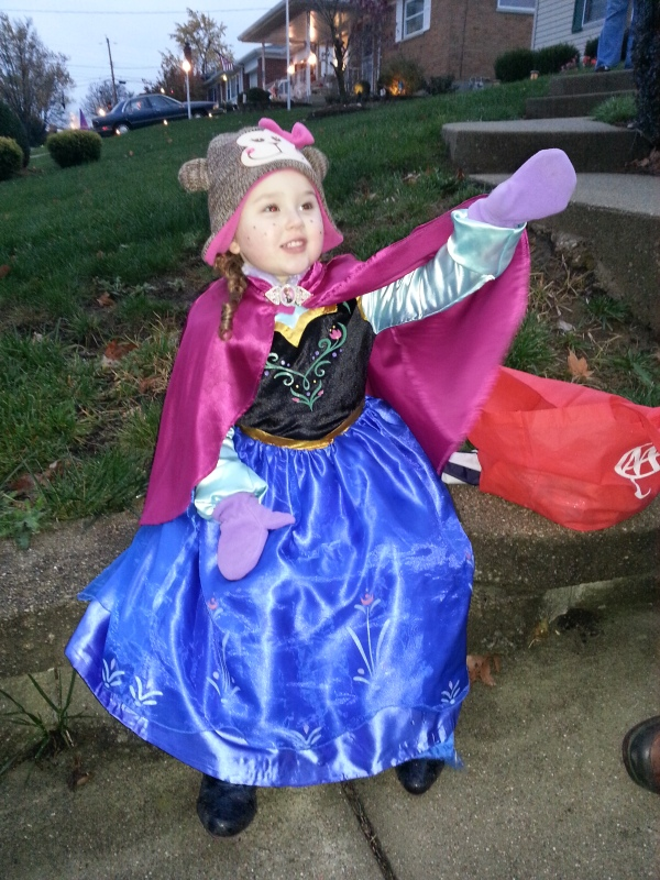 Sweet girl dressed up as Anna from Frozen for Halloween