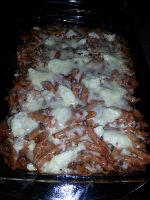 Done! Baked mostaccioli and soooo good!