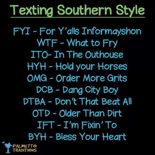 texting southern style via pinterest