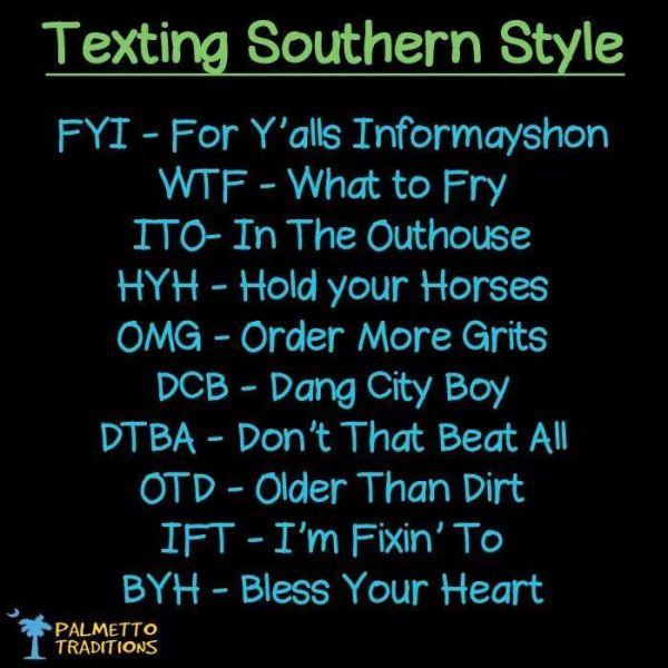 texting southern style via pinterest