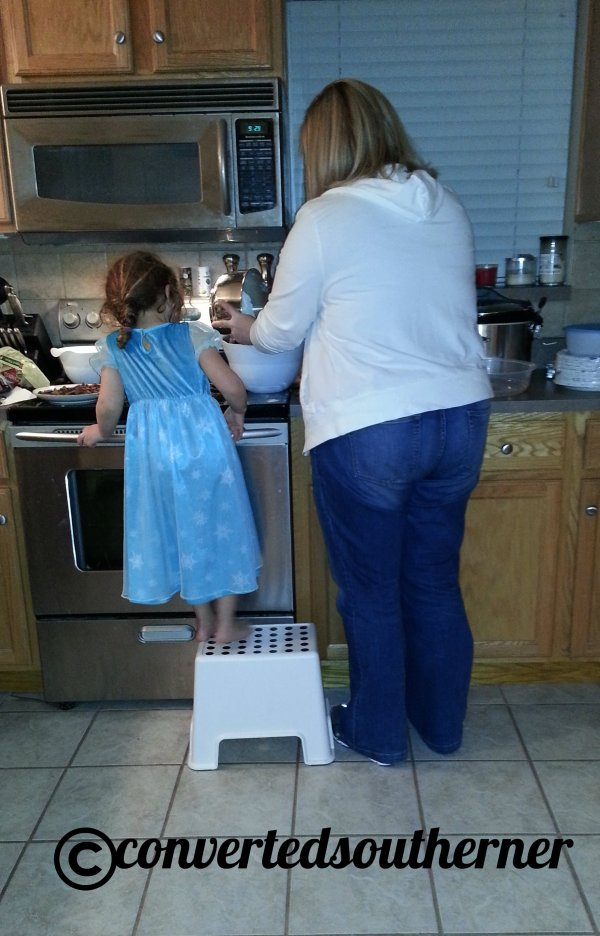 TT and Lili making cookies one night. Neiman Marcus cookies.... so yummy!