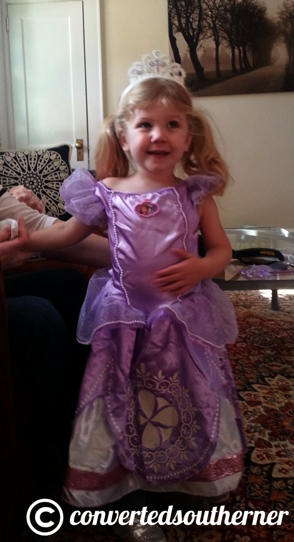 I gave her a Disney princess outfit for Christmas... major hit.