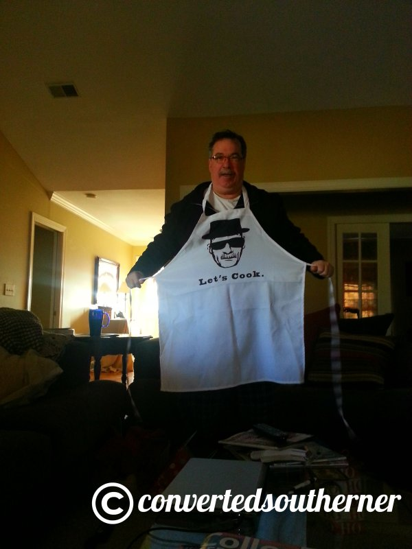 "My Dad LOVES Breaking Bad, so I found a ""Letd Cook"" apron on etsy. Another big hit!"